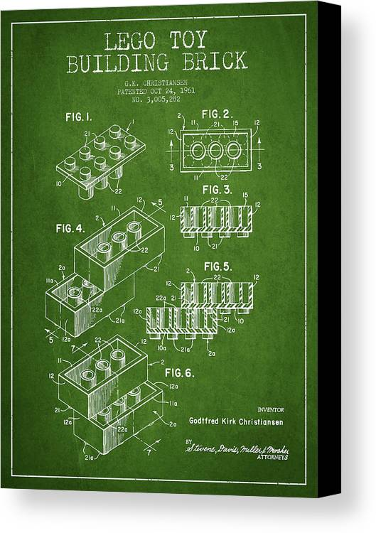 Lego Canvas Print featuring the drawing Lego Toy Building Brick Patent - Green by Aged Pixel