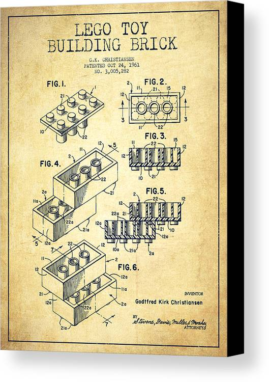 Lego Canvas Print featuring the digital art Lego Toy Building Brick Patent - Vintage by Aged Pixel