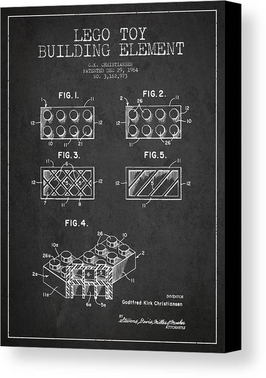 Lego Canvas Print featuring the digital art Lego Toy Building Element Patent - Dark by Aged Pixel