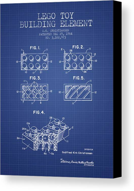 Lego toy building element patent from 1964 blueprint canvas print lego canvas print featuring the digital art lego toy building element patent from 1964 blueprint malvernweather Gallery