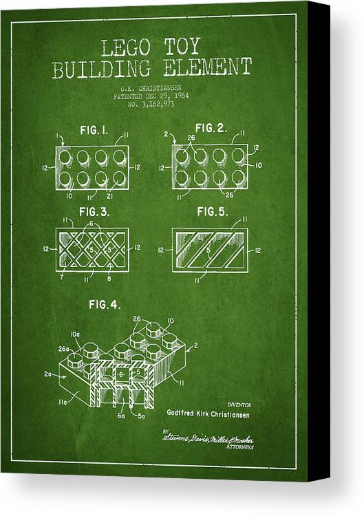 Lego Canvas Print featuring the digital art Lego Toy Building Element Patent - Green by Aged Pixel