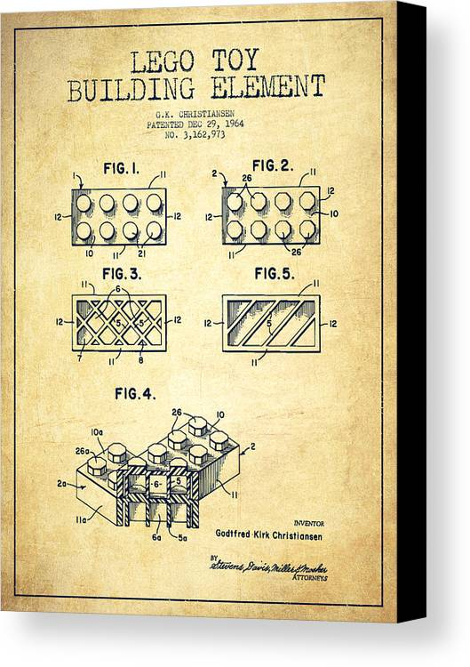 Lego Canvas Print featuring the drawing Lego Toy Building Element Patent - Vintage by Aged Pixel