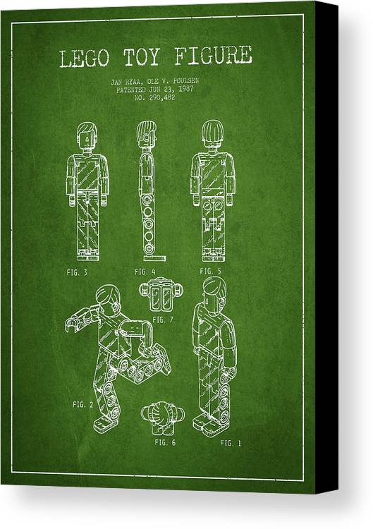 Lego Canvas Print featuring the drawing Lego Toy Figure Patent - Green by Aged Pixel
