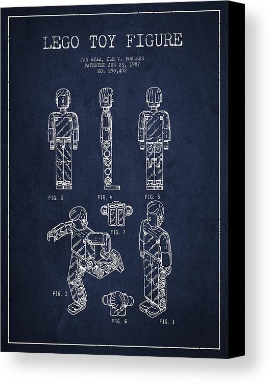 Lego Canvas Print featuring the drawing Lego Toy Figure Patent - Navy Blue by Aged Pixel