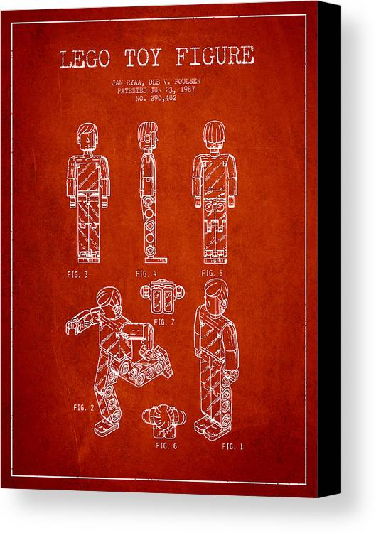 Lego Canvas Print featuring the drawing Lego Toy Figure Patent - Red by Aged Pixel