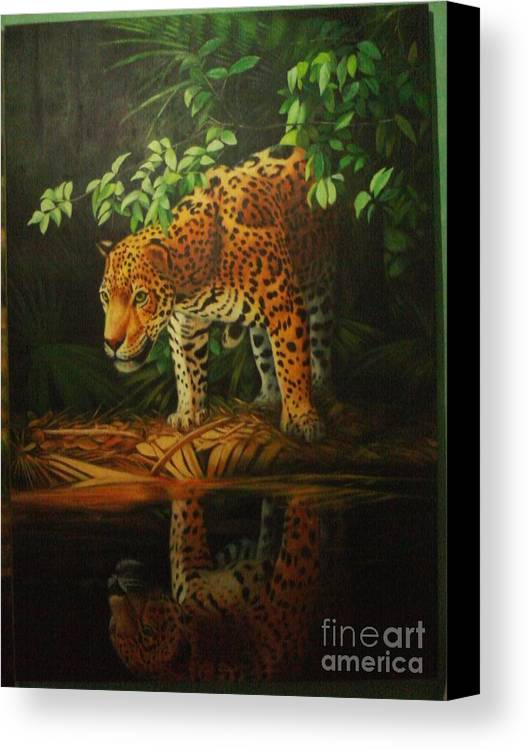 Canvas Print featuring the painting Leopard On Pond by Gatot Wijoyo