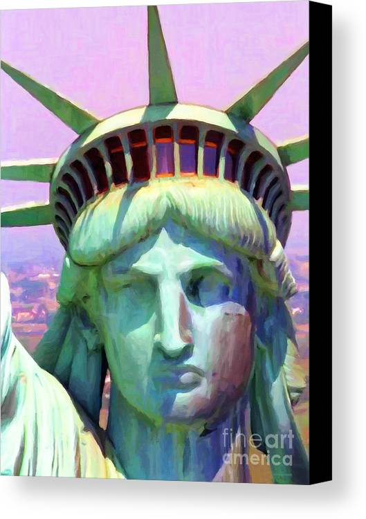 Patriotic Canvas Print featuring the photograph Liberty Head Painterly 20130618 by Wingsdomain Art and Photography
