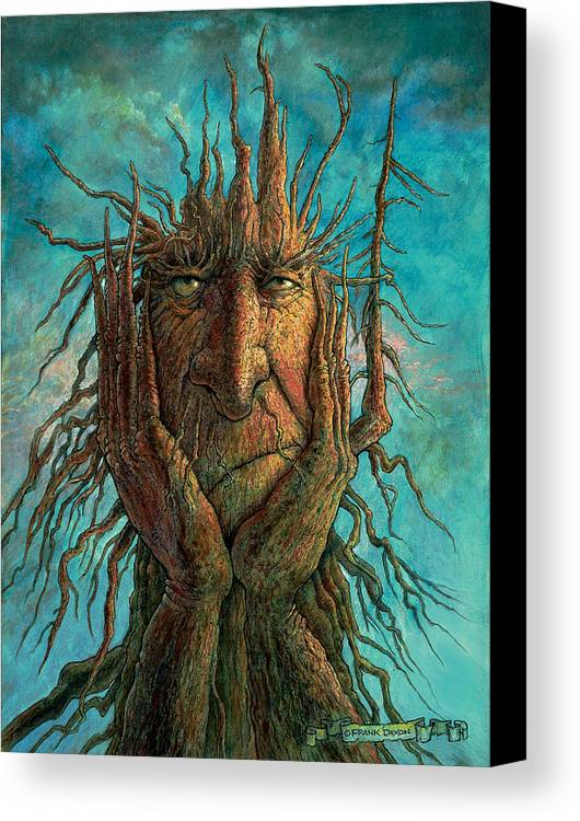 Fantasy Creatures Canvas Print featuring the painting Lightninghead by Frank Robert Dixon