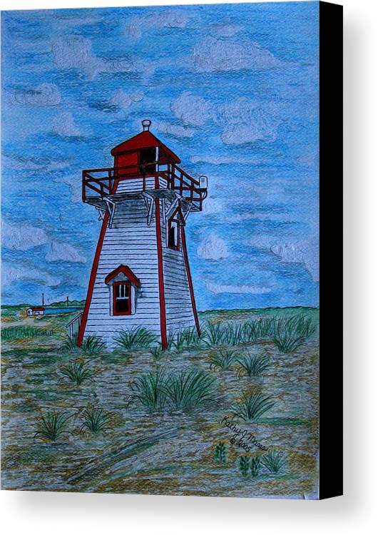 Red Canvas Print featuring the painting Little Red And White Lighthouse by Kathy Marrs Chandler