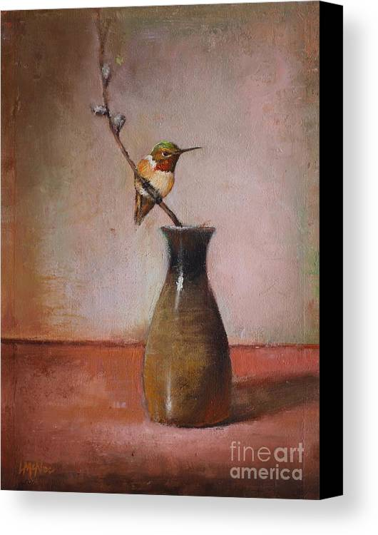 Sake Bottle Canvas Print featuring the painting Little Sake Bottle by Lori McNee