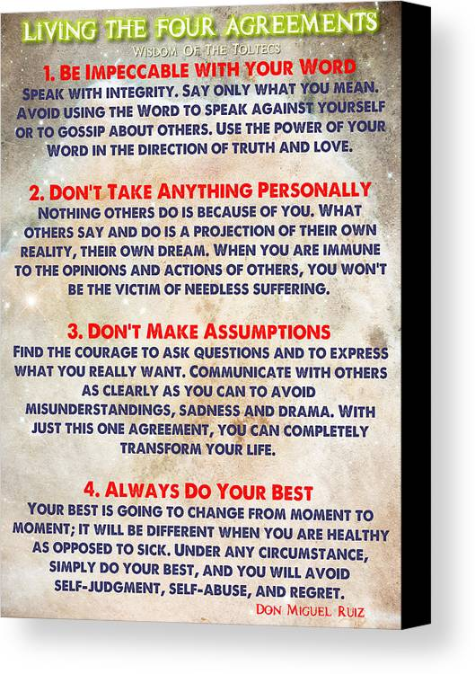 Living The Four Agreements Wisdom The Toltecs Canvas