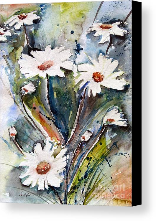 Marguerite Flowers Canvas Print featuring the painting Marguerites by Ismeta Gruenwald