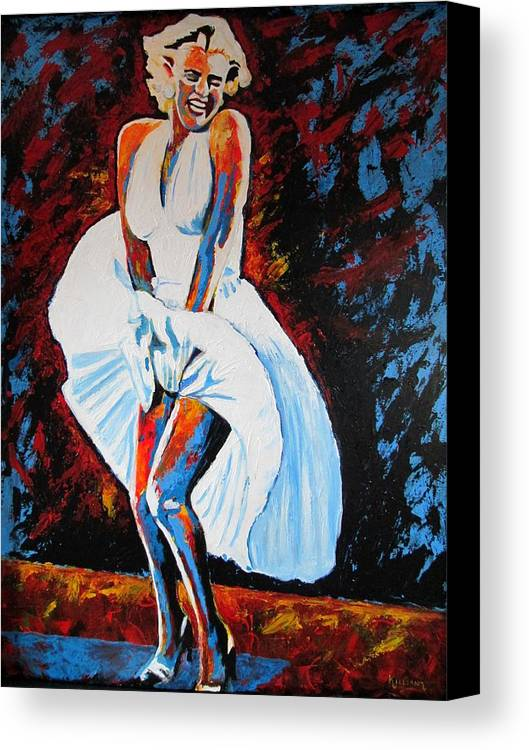 Marilyn Monroe Canvas Print featuring the painting Marilyn Monroe The Seven Year Itch by Patrick Killian