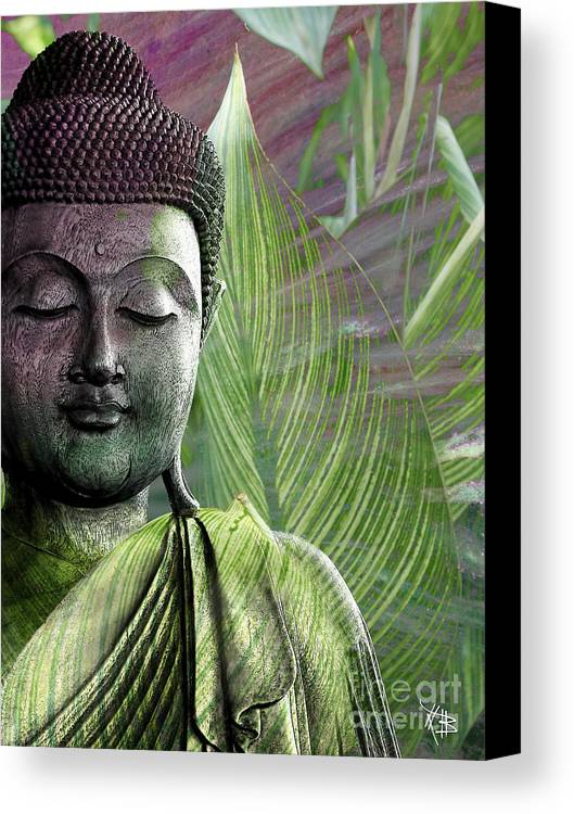 Buddha Canvas Print featuring the mixed media Meditation Vegetation by Christopher Beikmann