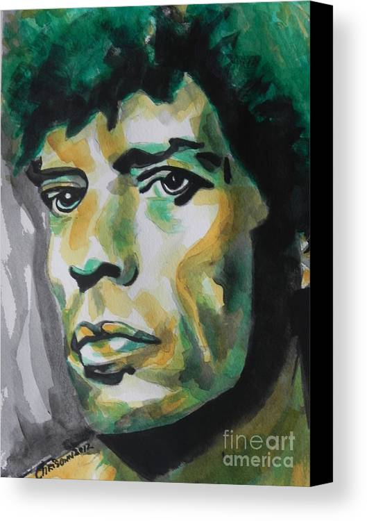 Watercolor Painting Canvas Print featuring the painting Mick Jagger by Chrisann Ellis