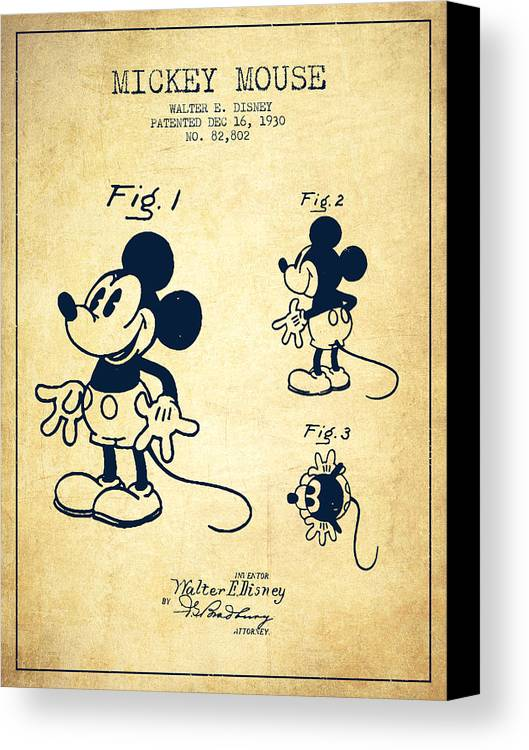 Mickey Mouse Patent Drawing From 1930 - Vintage Canvas Print ...