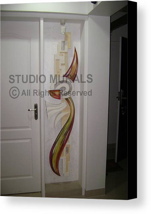 Murals Canvas Print featuring the relief Mixed Media Mural by Milind Badve