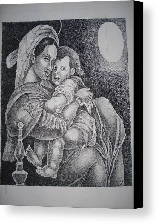 Mother Canvas Print featuring the painting Mother With Her Baby by Prasenjit Dhar
