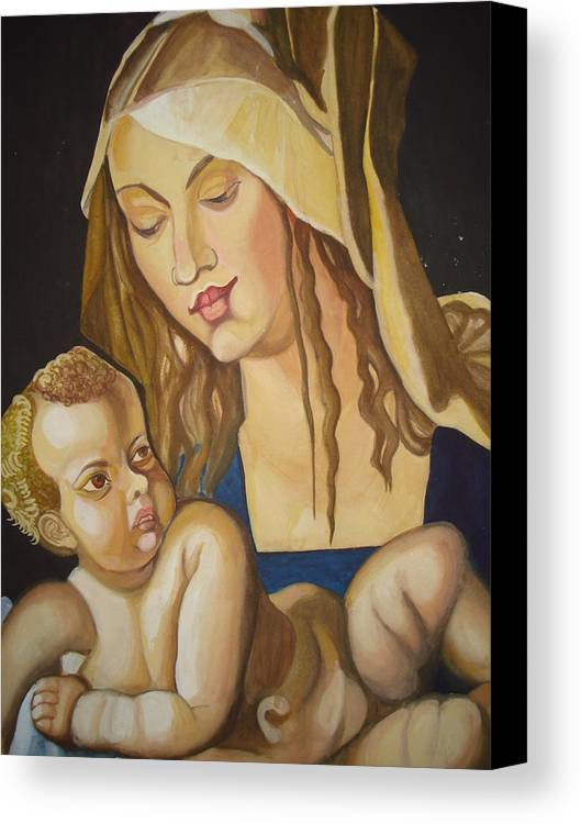 Mother Canvas Print featuring the painting Mother With Her Child by Prasenjit Dhar
