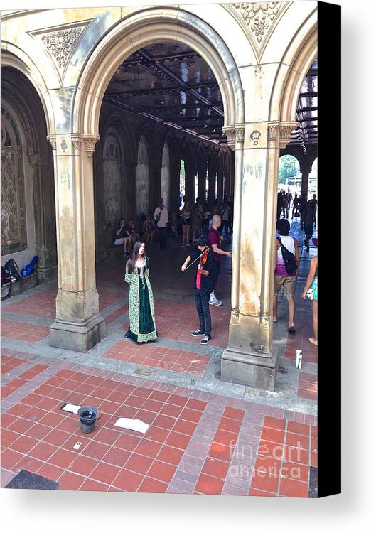 Music Canvas Print featuring the photograph Music Echoes Under The Arches by Christy Gendalia