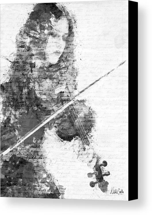 Violin Canvas Print featuring the digital art Music In My Soul Black And White by Nikki Marie Smith
