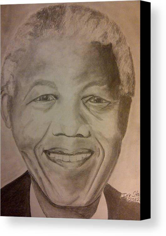 President Of South Africa Canvas Print featuring the painting Nelson Mandela by Irving Starr