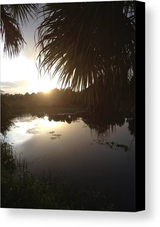 Not Quite Black And White Sunset Canvas Print featuring the photograph Not Quite Black And White - Sunset by K Simmons Luna