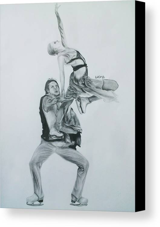 Ice Skating Canvas Print featuring the drawing Nothing Is Impossible by Lucy D