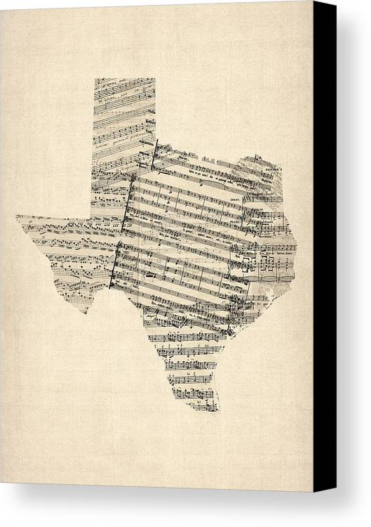 Texas Canvas Print featuring the digital art Old Sheet Music Map Of Texas by Michael Tompsett