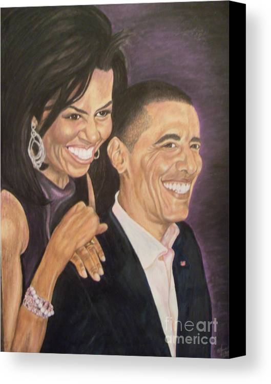 Portraits Canvas Print featuring the painting Ombience Of Love The Obama by Arron Kirkwood