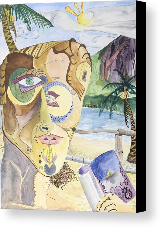 Portrait Canvas Print featuring the painting Ometepe by Aaron Joslin