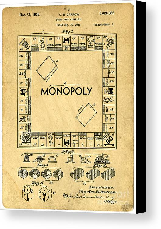 Monopoly Canvas Print featuring the drawing Original Patent For Monopoly Board Game by Edward Fielding