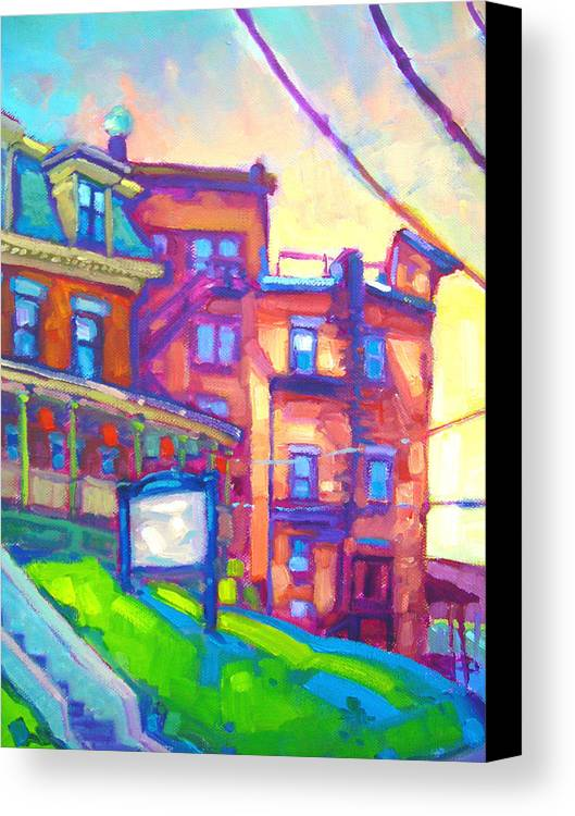 Buildings Canvas Print featuring the painting Osaka Northampton by Caleb Colon