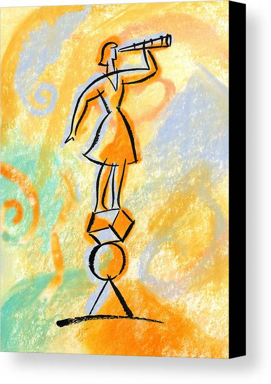 Balancing Boost Business Opportunity Businesswoman Female Future Look Looking Opportunities Opportunity Outlook Oversee Perspective Shape Shapes Supervise Supervision Supervisor Vantage Point Watch Watcher Watchers Watching Woman Canvas Print featuring the painting Outlook by Leon Zernitsky