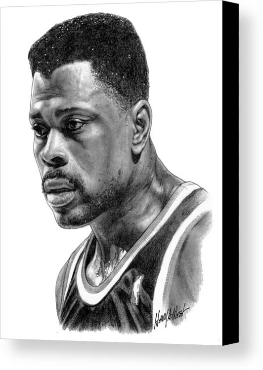 Patrick Ewing Canvas Print featuring the drawing Patrick Ewing by Harry West