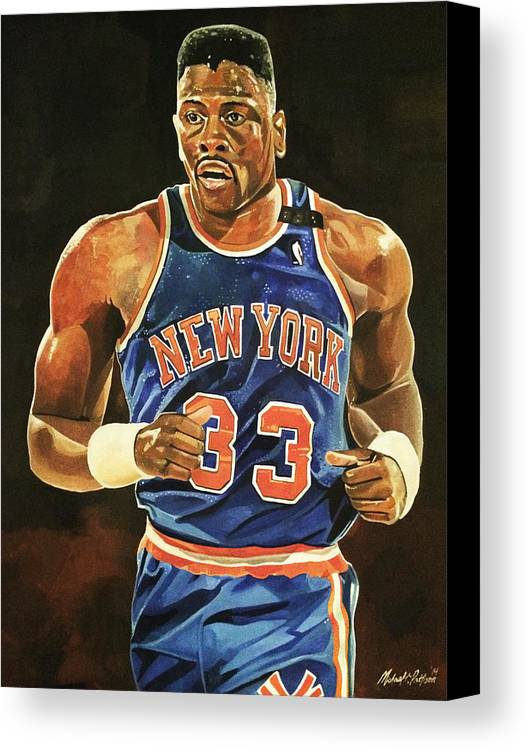 Patrick Ewing Canvas Print featuring the painting Patrick Ewing New York Knicks by Michael Pattison