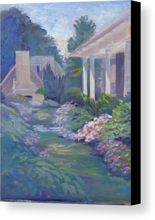 Summer Canvas Print featuring the painting Peaceful Portico by Judy Fischer Walton