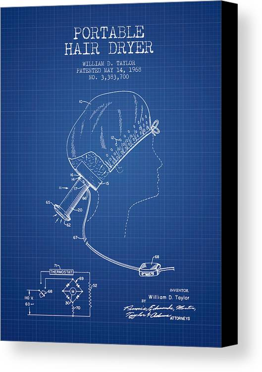 Portable hair dryer patent from 1968 blueprint canvas print hair dryer canvas print featuring the digital art portable hair dryer patent from 1968 blueprint malvernweather Image collections
