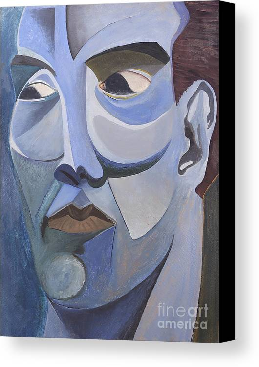 Portrait Canvas Print featuring the painting Portrait In Blue by Aaron Joslin