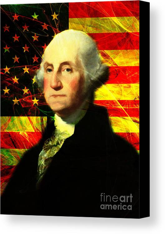 Celebrity Canvas Print featuring the photograph President George Washington V2 by Wingsdomain Art and Photography