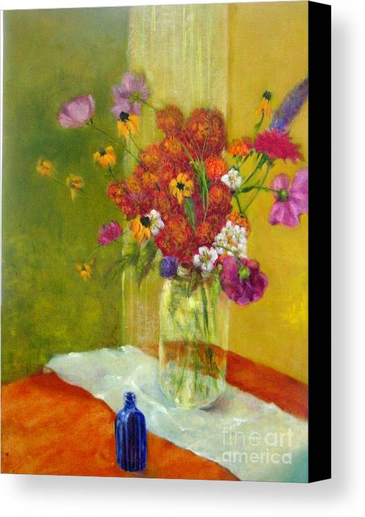 Impressionist Floral Canvas Print featuring the painting Purple Cosmos    Copyrighted by Kathleen Hoekstra