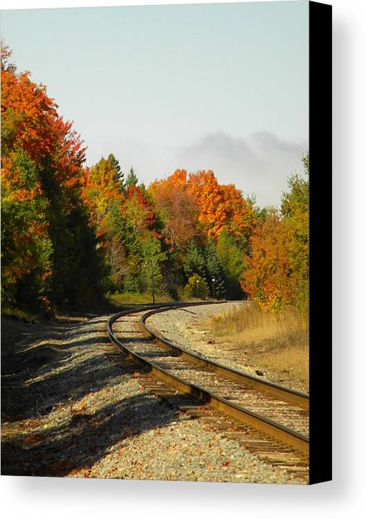 Fall Canvas Print featuring the photograph Railroad Tracks by Jan Ennis