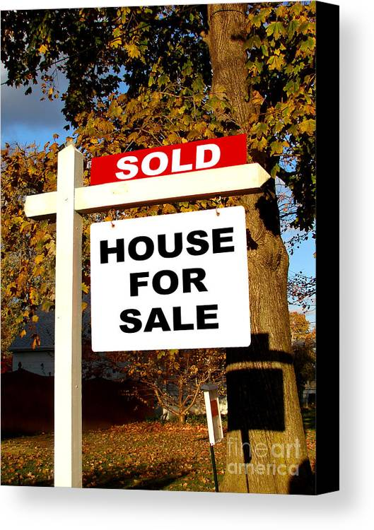Real Estate Canvas Print featuring the photograph Real Estate Sold And House For Sale Sign On Post by Olivier Le Queinec