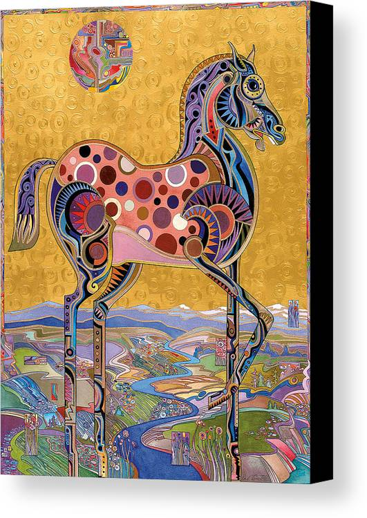 Horse Paintings Canvas Print featuring the painting Red Stallion Overlook by Bob Coonts