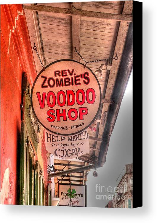 Voodoo Shop Canvas Print featuring the photograph Rev. Zombie's by David Bearden