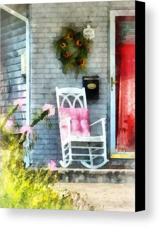 Rocking Chair Canvas Print featuring the photograph Rocking Chair With Pink Pillow by Susan Savad