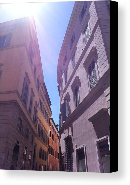 Roman Buildings Canvas Print featuring the photograph Rome At Mid Day by Brian McCullough