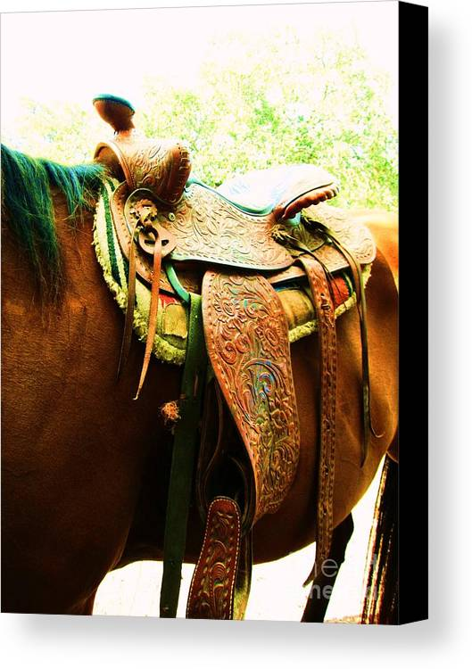 Saddle Canvas Print featuring the photograph Saddle by Esther Rowden
