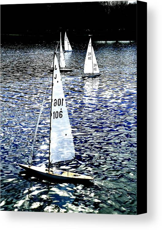 Remote Control Canvas Print featuring the photograph Sailing On Blue by Steve Taylor