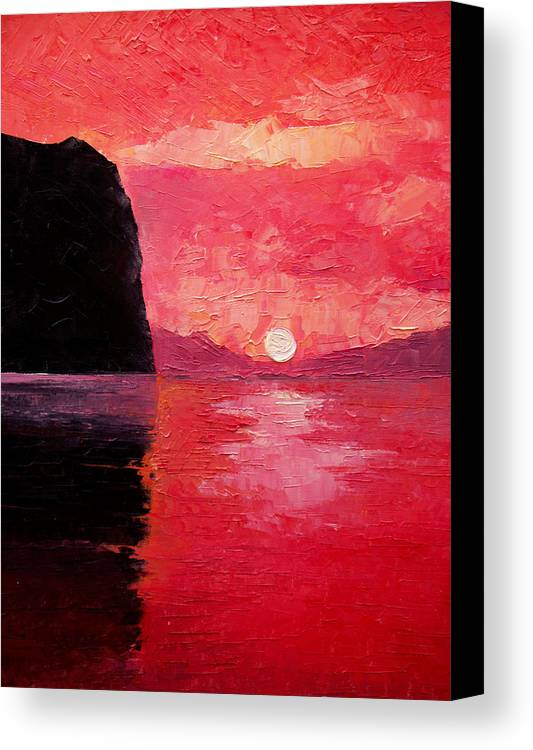 Landscape Canvas Print featuring the painting Seaside Sunset by Sergey Bezhinets